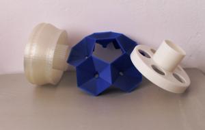 Прототип сложных геометрических деталей из разного пластика. Размер деталей 12-15 см в диаметре.