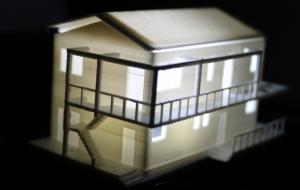 Макет дома из PLA пластика в уменьшенном масштабе.